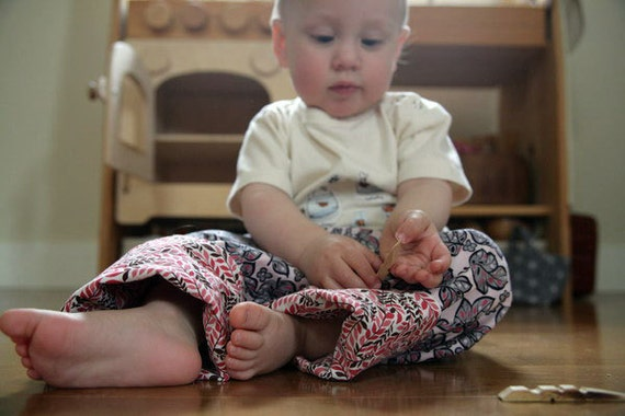 Quick Change Trousers 18mos - Pink Leaves