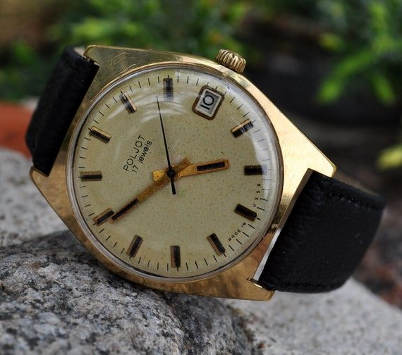 "Vintage mechanical  wristwatch ""Poljot"" from USSR. Golden plated"