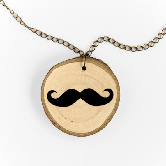 Mustache - illustrated wooden necklace