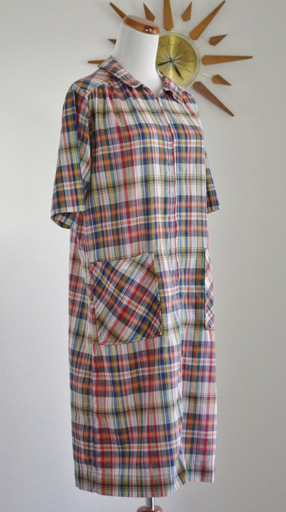 Vintage Madras Plaid Dress, Large/XL 60's House Dress