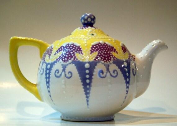 Teapot Whimsical Handpainted, Glazed kiln fired Ceramic Teapot