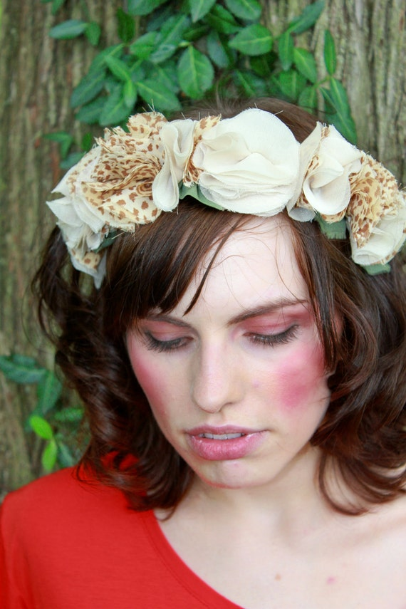 Chiffon Flower Crown - Tan, Ivory and Leopard Print