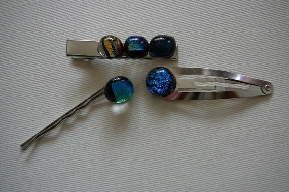 Glass Hair Clips  set of 3