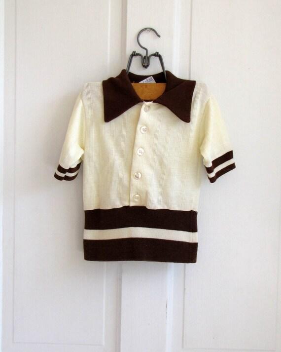 Vintage 70's Retro Brown Stripe Knit Button Down (size 5-8)