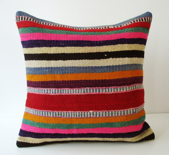 Sukan / SOFT Hand Woven - Turkish  Kilim Pillow Cover - 16x16