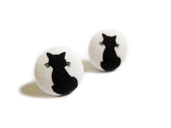 Ткани крытый кнопки Серьги - Sweet Кошки