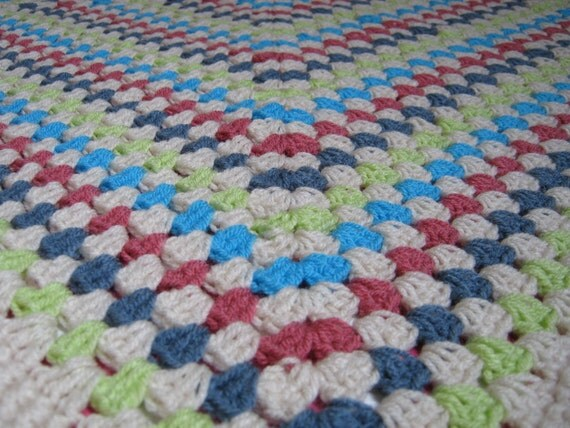 Exquisite Springtime  Granny Square Blanket Afghan Picnic
