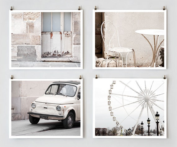 Paris Photography Set, White - French Fine Art Photograph Prints - Paris Decor - Wall Art - White Home Decor