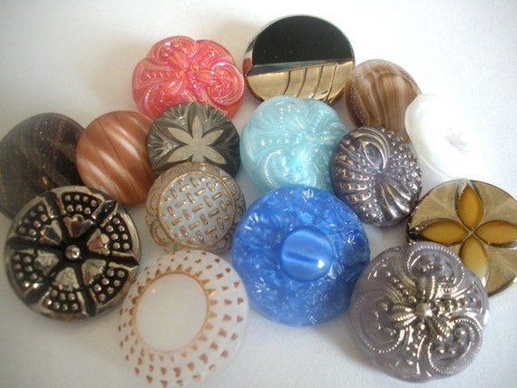 Vintage Czech Glass Buttons - 15 Different Styles and Colors