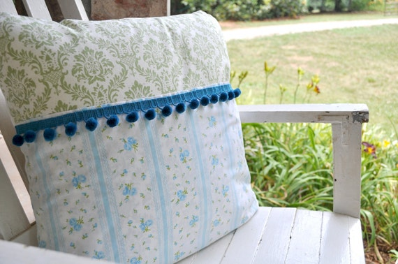 Bible Memory Verse Pillow Cover,Vintage Turquoise and Green with Turquoise Pom Pom Trim