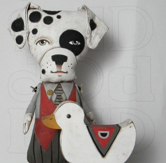 Dalmatian Dog and his Duck-- Contemporary Folk Art-- Made to order within a week