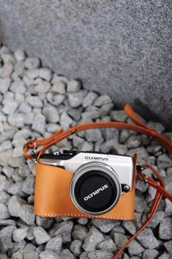 Hand Stitched Light Brown Leather Camera Case with Strap - Olympus PEN E-PL2