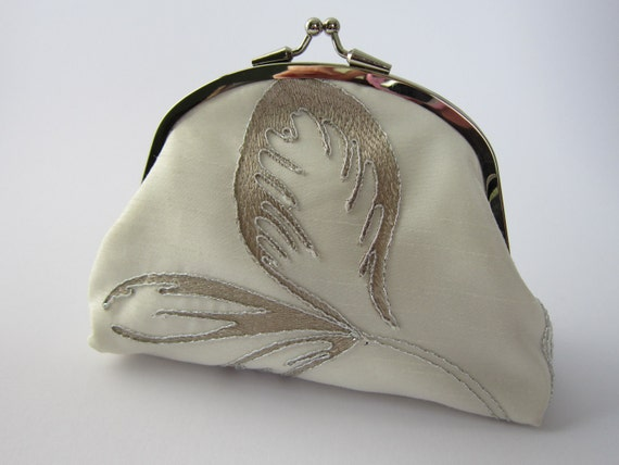 Silver Embroidered Purse/Wallet