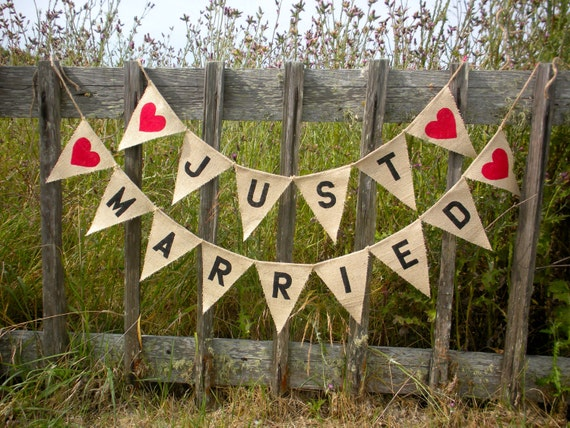 Just Married Burlap Bunting with Red Heart
