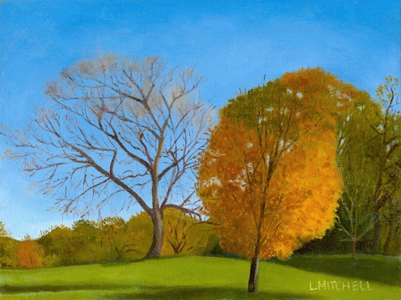 "Autumn in Prospect Park - Original Oil Painting 8"" x 6"""