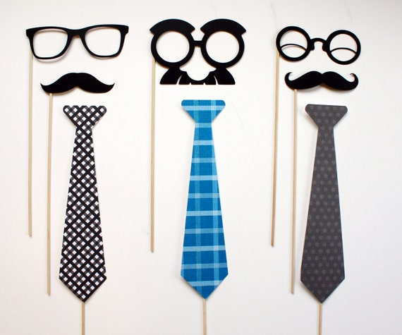 Photobooth Props on a Stick - Tie one One - Fathers Day, Neck tie, Mustache, Glasses on a Stick