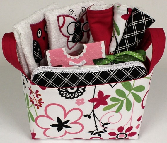 Diaper Bin 8 Piece Set - Pink and Black- CAN BE PERSONALIZED