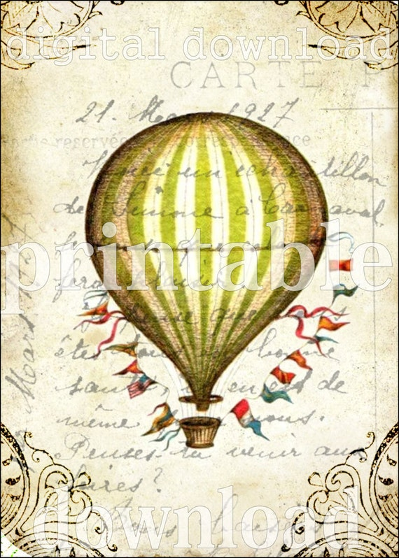 WHiMSiCaL striped Hot Air Balloon ViNTaGe DeSiGN Digital Collage Sheet download scrapbooking wall home decor supplies graphics