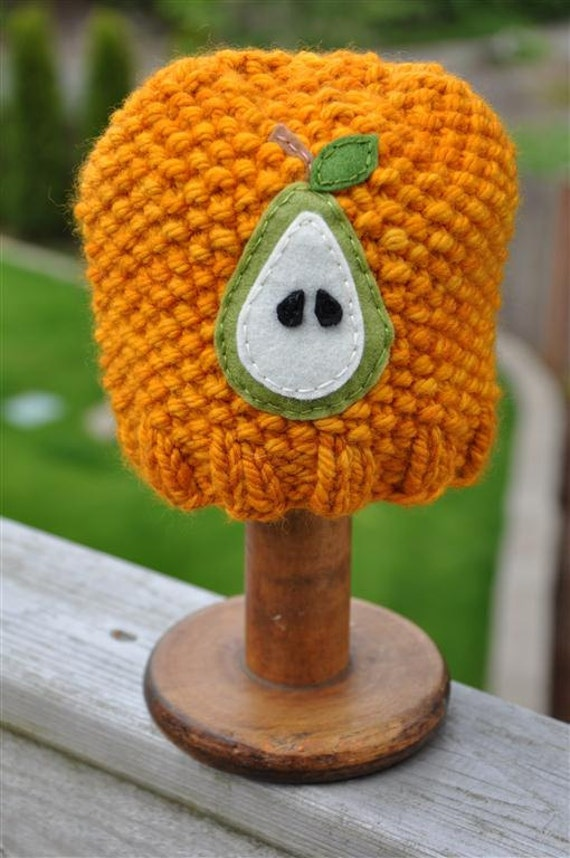 Fruity Hat - Pear, Newborn Sized, Sunset