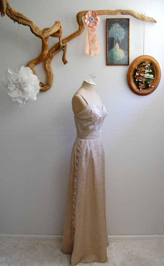 The Penny- Vintage 1950s 1960s Mad Men Golden Brocade Gown