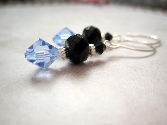 Lavender Blue and Black Swarovski Crystal by DebrasDivineDesigns from etsy.com