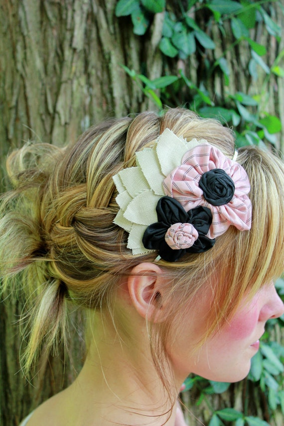 Flower Cluster Headband - Peach, Black and Tan