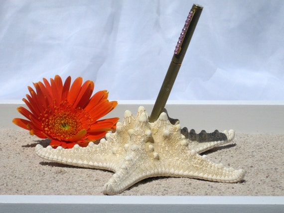 Natural Knobby Starfish Wedding Guest Book Pen Holder