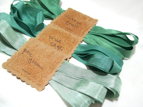 Seam binding in true sage, vintage grass green, and pale green- 3 yards each, totaling 9 yards