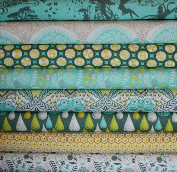 Prince Charming Fabric by Tula Pink for Free Spirit- Fat Quarter Bundle- 8 total