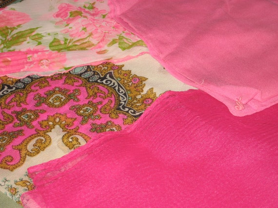 Free Shipping Vintage Lot 4 Pink Hue Midcentury Sheer/Georgette Nylon Crepe/Patterned Head Scarves