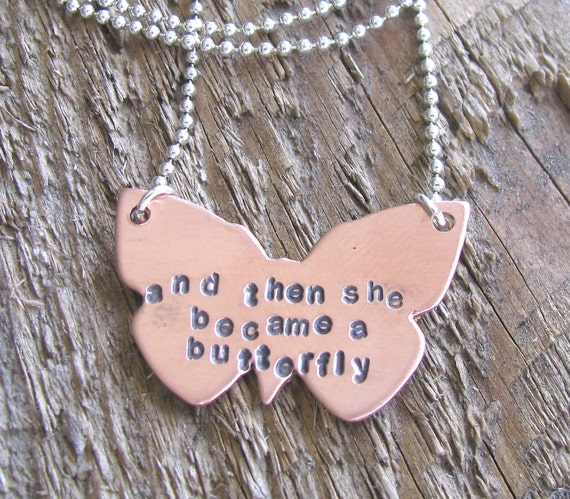 From Caterpillar To Butterfly Handstamped Personalized Inspirational Copper Necklace