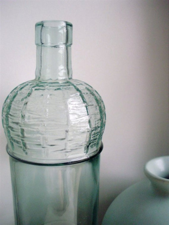 Tall Vintage Basket Weave Glass Bottle