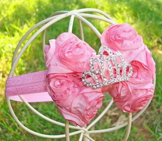 Розовая принцесса волос Лук-Mini розового атласа Розетка волосы бант с Кристалл Тиара Центр Stretchy головная повязка или Clip - Petite Вирджиния - много цветов