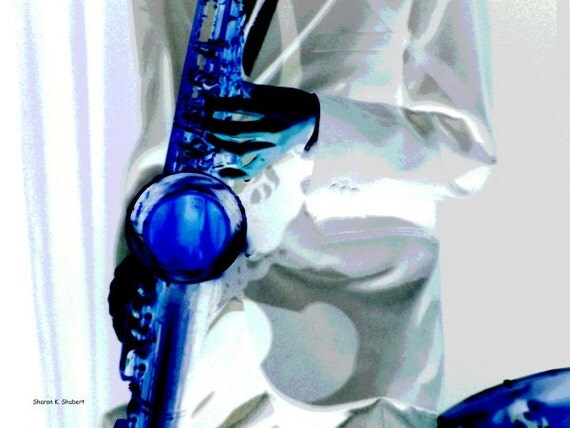 Saxophone Musician in BLUE Abstract Art 8 x 10 Giclee Print
