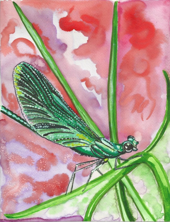 Dragonfly Print of Original Watercolor Painting