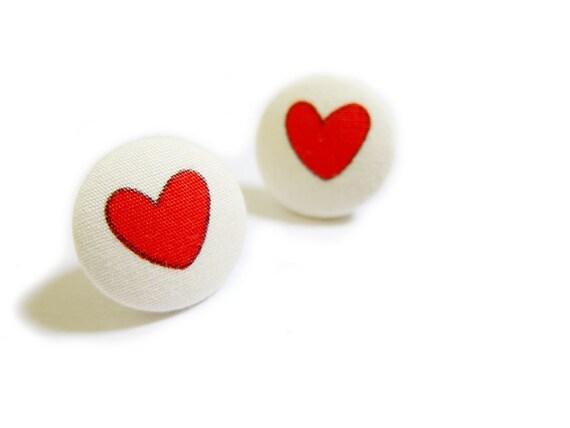 Ткани крытый кнопки Серьги - Сердечки