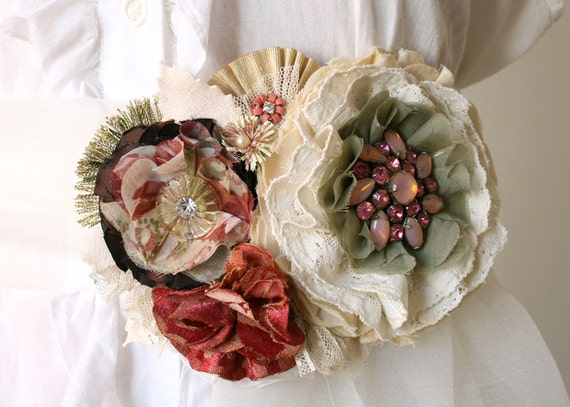 Winter Wedding Floral Sash Belt in Rose Red, Sage Green, Warm White, Cream