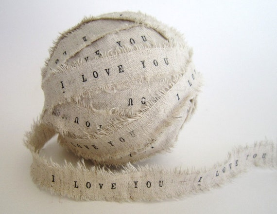 Personalized Ribbon 2 YARDS Handmade I Love You linen fabric Ribbon personalize wedding decor favors valentine decorations valentines Day