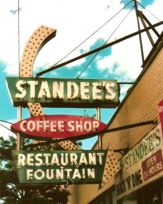 Chicago Photo - Standee's Snack 'N' Dine - 8x10 Altered Film Print - Vintage Neon Coffee Shop Sign - Diner - Arrow - Red - Green - Eat