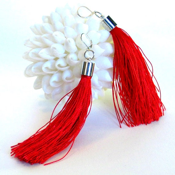 red tassel earrings, fringe earrings,  red and silver earrings. long  earrings