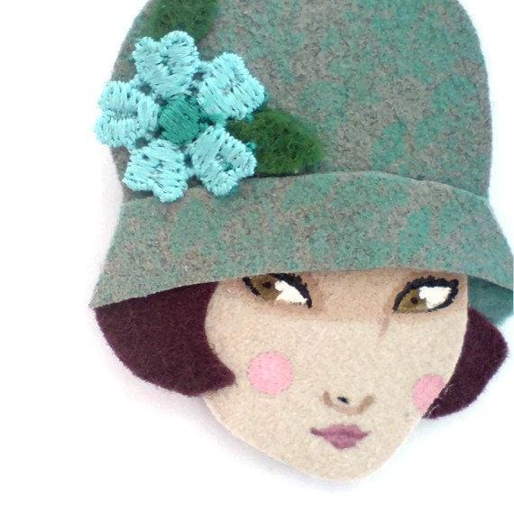 Fabric brooch - Emma,  Art deco flapper girl, Autumn, sage, light blue, chocolate brown
