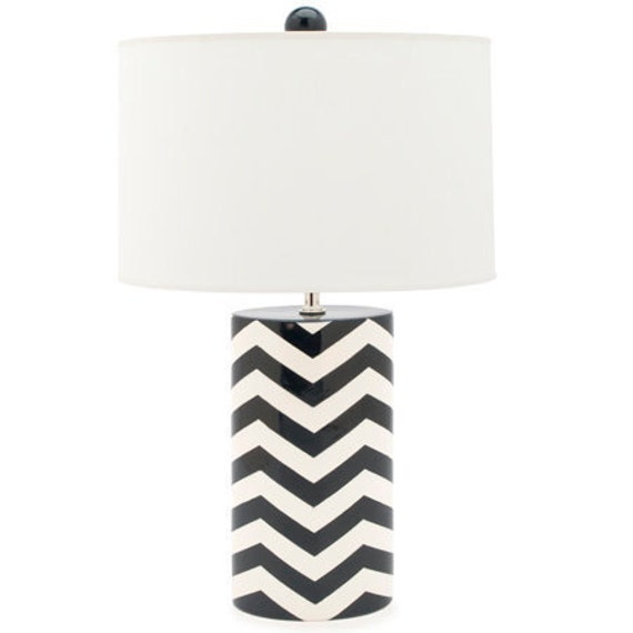 chevron oval lamp in navy