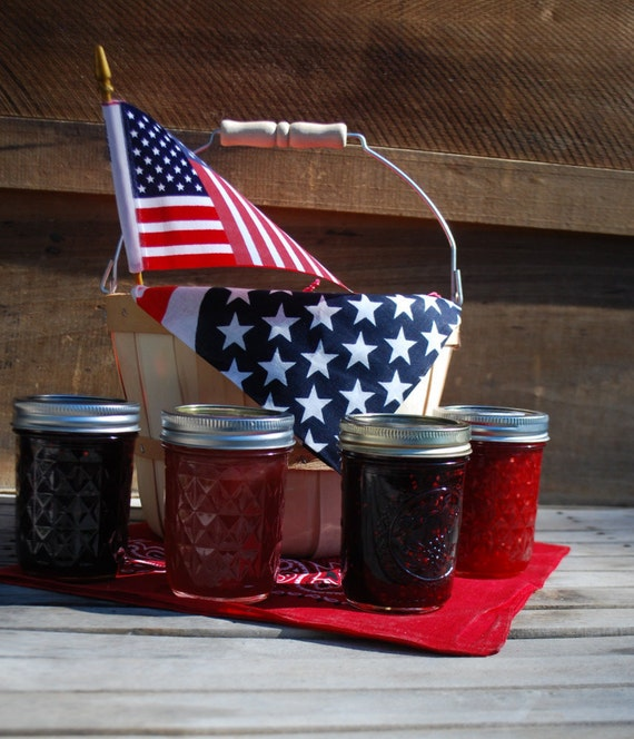 Organic Patriotic Jam Gift Basket with Four  8 oz Homemade Jams