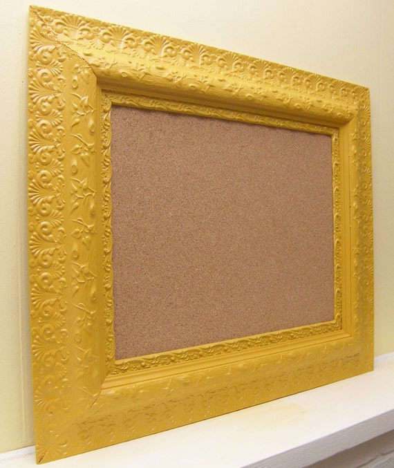 Vintage Cottace Chic LARGE Mustard Yellow Gesso Wood Cork Board By Funky Junk Company On Etsy