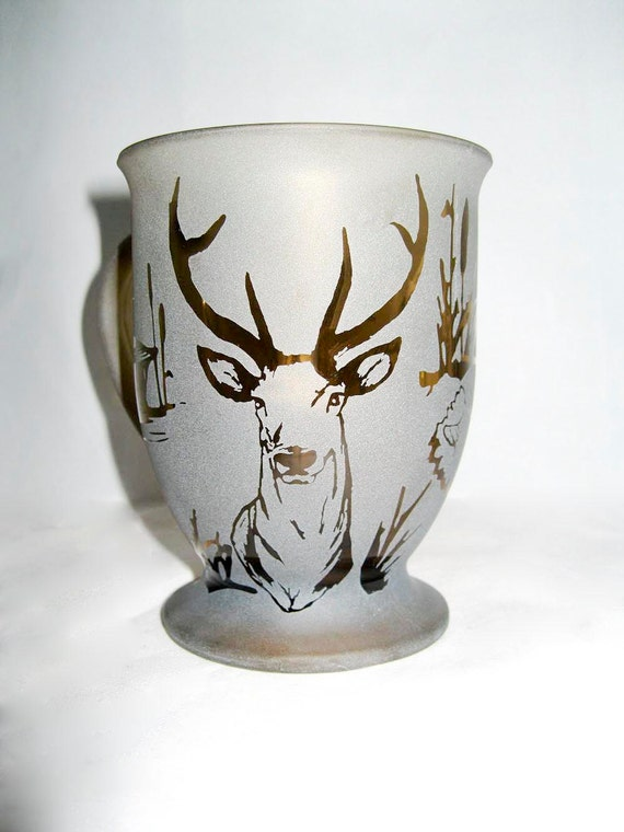 Personalized Hunting Etched Glass Coffee Mug 16 oz.