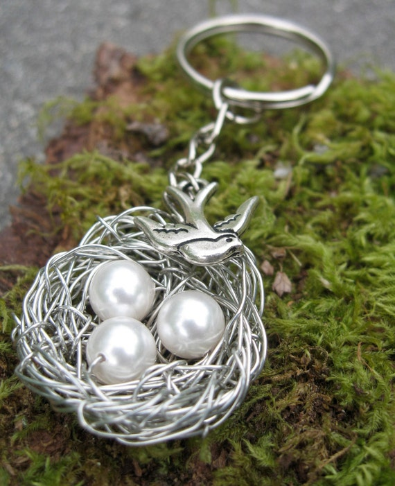 Big Summer Sale - Personalized  Keychain with Swarovski Pearls and Bird's Nest