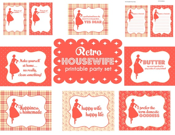 Retro Housewife Printable Party Set  www.printablepartyshop.com  79 Items  Invite, Cupcake Toppers, Signs, Recipe Cards, Bottle Wraps... Birthday, Bridal Shower