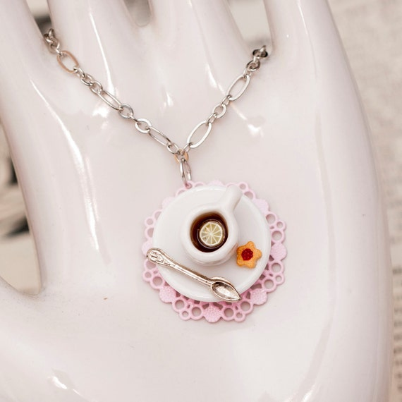 Roscata Pink Mini Tea Cup Necklace Pendant - For Lovers of Tiny Things