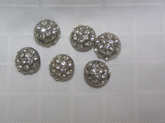 Vintage rhinestone buttons lot of 6