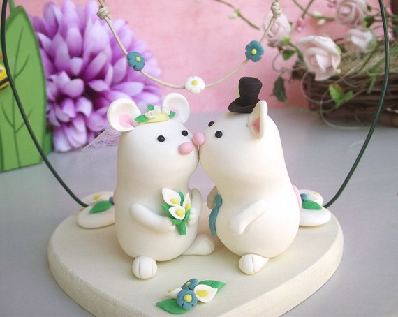 Unique mice wedding cake topper, painted wooden base and floral decoration